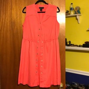 Salmon button down dress